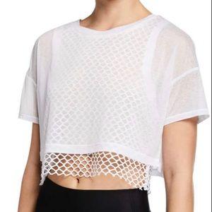 Alo Short-Sleeve Layered Crop Tee W/ Mesh